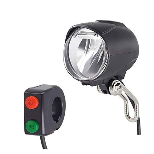 XYBH JXB Faro incorporado entrada de altavoz 12 V 36 V 48 V 60 V luz LED 50 Lux luz eléctrica para bicicleta y scooter eléctrico delantero (color : altavoz e interruptor)