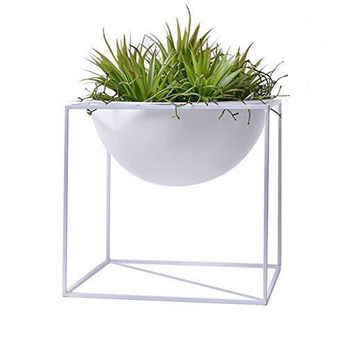 Lembeauty, vaso rotondo da balcone, in ferro, con supporto, per piante grasse, fiori e frutta, in stile moderno, bianco, small