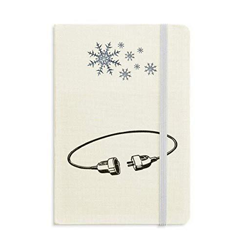 Steckdose Ladekabel Stecker Muster Notebook Dicke Journal Schneeflocken Winter