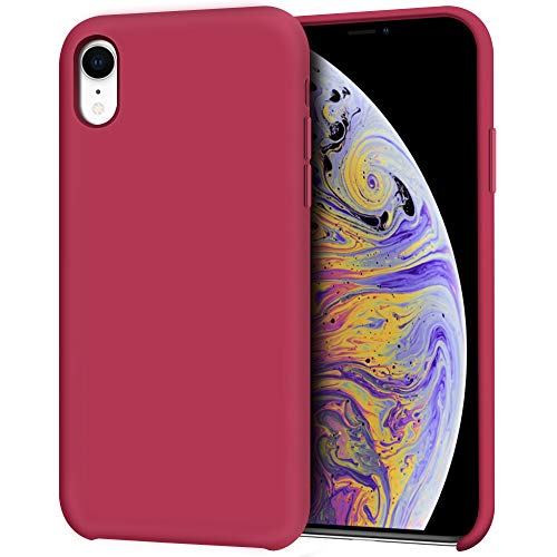 """Anuck iPhone XR Case, Anti-Slip Liquid Silicone Gel Rubber Bumper Case with Soft Microfiber Lining Cushion Slim Hard Shell Shockproof Protective Case Cover for Apple iPhone XR 6.1"""" 2018 - Rose Red"""