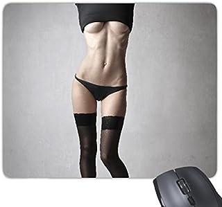 Negro medias Nude Babe Hot Sexy Girl Pretty Gal Lady imagen Rectángulo antideslizante de goma Mousepad ratón juego almohadilla de regalo