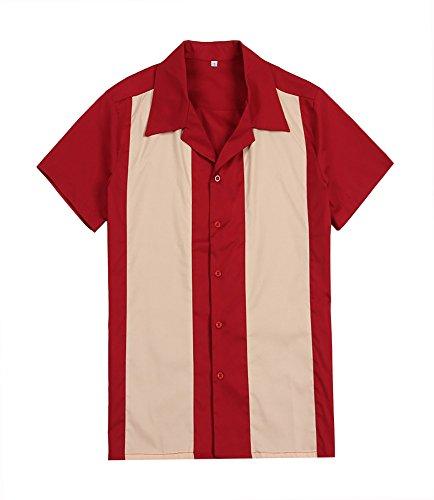 Candow Look Chemise vintage pour homme style rockabilly américain Crème/rouge - multicolore - Large