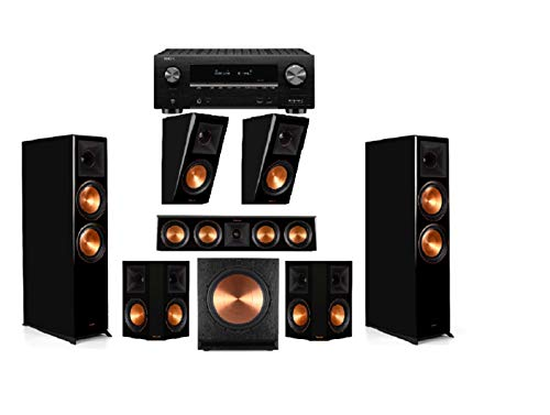 Cheapest Price! Klipsch RP-8060FA Piano Black 5.1.2 Dolby Atmos Home Theater System with AVR-X3500H ...