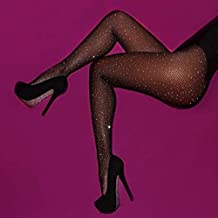 Instagram Fashion Inspired Womens One Size Tight Fishnet Thigh | Stylish High Stockings Pantyhose with Choice of Holes and Diamond, Compression Stockings Sexy Suspender for Women (Black, W28)
