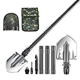 Camping Shovel, Heavy Duty Survival Folding Shovel with Carrying Bag, Versatile Military Entrenching Tools for Off Road, Gardening, Hiking - Carbon Steel, Adjustable