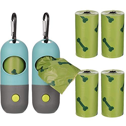 AUXSOUL2 Piezas de Dispensador de Bolsas Caca Perro Bolsas Excrementos de Perro Dispensador Bolsas Perro Bolsa para Caca de Perro con Luz de Flash LED para Caminar