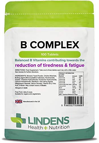 Lindens Vitamin-B-Komplex-Tabletten | 100 Stôck | Balanced Formel 8 B-Vitamine angereichert mit Vitamin C, Cholin, Inositol und PABA | Tr_gt den normalen Stoffwechsel, Verringerung von Môdigkeit und Ersch_pfung