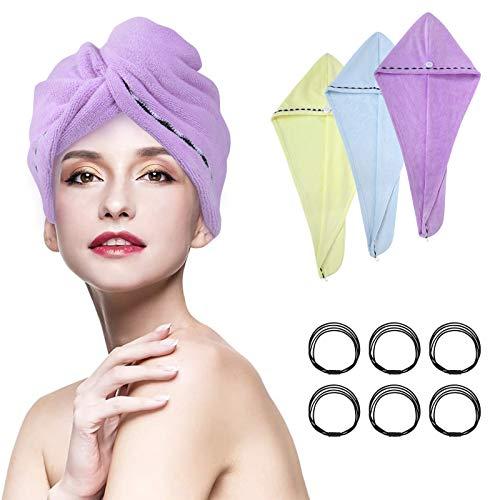 URAQT Haartuch Mikrofaser, 3 Stück Turban Handtücher Schnelltrocknend Handtuch mit 6 Haarseile, Haarhandtuch Kopfhandtuch Duschhaube Damen für Haaren