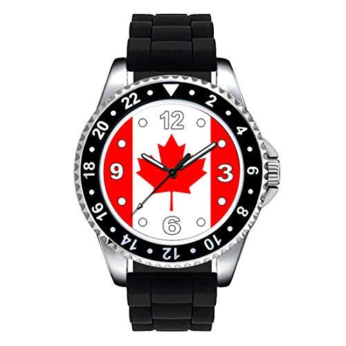 Timest - Bandiera Canada - Orologio da polso Unisex con cinturino in silicone nero analogico al quarzo SE0376SB
