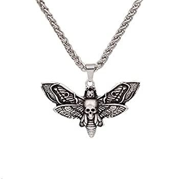SanLan Death Head Moth Pendant Necklace Wicca Jewelry Goth Moth and The Moon  2-Silver