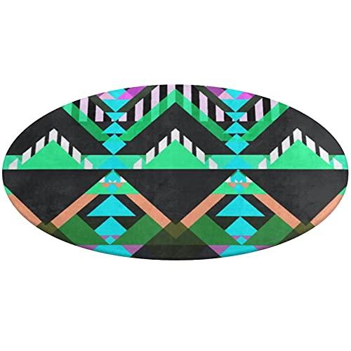 Alfombra redonda de baño, antideslizante, color turquesa pop azteca, alfombra de baño absorbente de agua, para salón, dormitorio, bañera, ducha, cocina, 61 cm