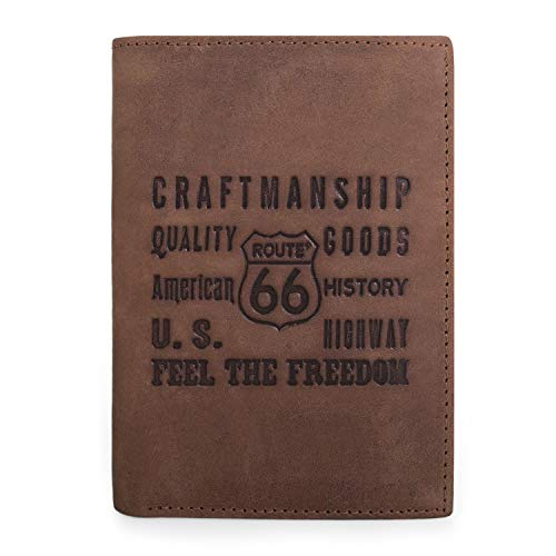 ROUTE 66 - Leren portemonnee voor heren. Echt leer. Documentatiemunten Bankbiljetten en kaarten. Geschenkdoos. Kwaliteit en merk. Klassieke en elegante stijl. Compleet. R10218, Color Bruine