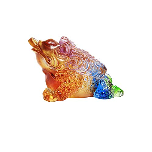liushop Buddha statue High-end Glazed Crystal Lucky Golden Toad Car Decoration Crafts Ornaments Home Feng Shui Golden Toad Statue Suitable For Business Gifts Meditation decoration