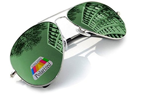4sold Klassische Unisex Polarisierte Sonnenbrille in vielen Farbkombinationen (Grün)