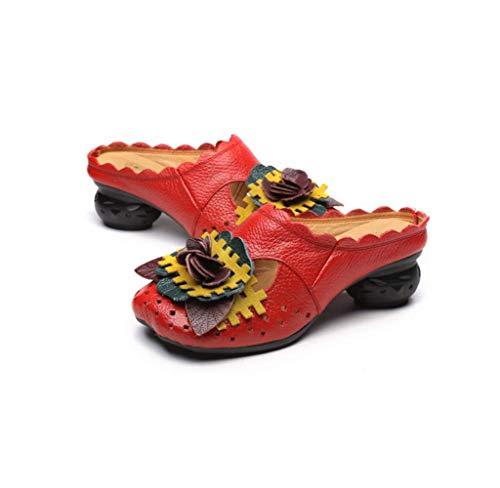 Sandali Estive Donna, Popoti Sandali Zeppa Ciabatte in Pelle Pantofole Mocassini Pompe Fiore Flip Flops con Tacco Scarpe