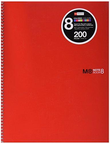Miquelrius – Cuaderno A4, 200 hojas (franjas de 8 colores), Rayado Horizontal 7 mm, tapa de polipropileno color rojo