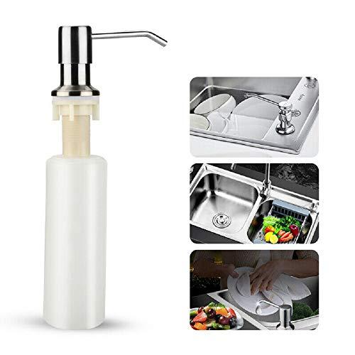 350ML Waschbecken Seifenflasche, Edelstahl Seifenspender, Küchenspülmittel Seifenspender 304 Hand Liquid Pump Pump Flasche (Für 20 mm)