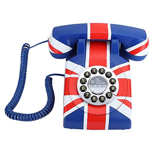 Wosune Teléfono Fijo, Material ABS Teléfono Antiguo, para Nosotros/Reino Unido Opción de Cable Decoración del hogar Oficina Hotel Hogar Familia(British Line)