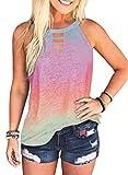 Camiseta sin mangas para mujer de verano, con estampado de leopardo multicolor XL