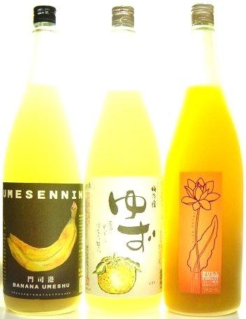 梅仙人 バナナ梅酒 梅乃宿 ゆず酒 フルフル マンゴー梅酒 1800ml×三種飲み比べセット