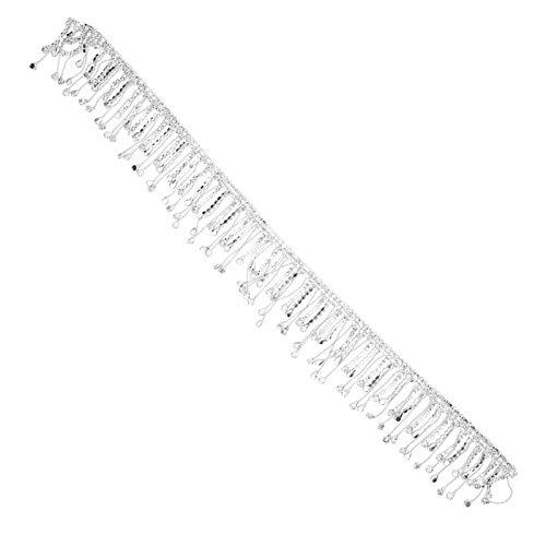 Yivibe Cadena de borlas de Diamantes de imitación, Cadena de Flecos de Diamantes de imitación, decoración de borlas de Cristal, Cristal Elegante para Disfraces(Silver)