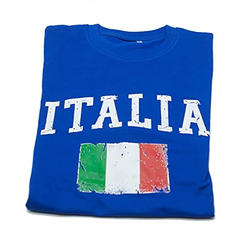 Generico Maglia Italia, Tricolore. Maglietta Azzurra con Logo, Scritta. Tifoso Nazionale Calcio...