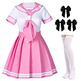 Classic Japanese Anime School Girls Pink Sailor Dress Shirts Uniform Cosplay Costumes with Socks Hairpin Set(2XL = Asia 3XL)