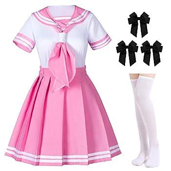 Classic Japanese Anime School Girls Pink Sailor Dress Shirts Uniform Cosplay Costumes with Socks Hairpin Set XL = Asia 2XL