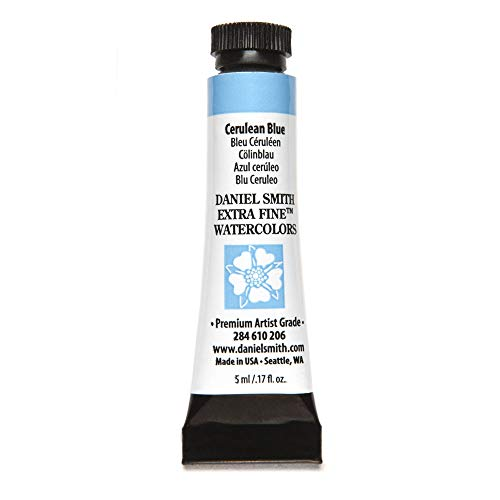 DANIEL SMITH Extra Fine Watercolor Paint, 5ml Tube, Cerulean Blue, 284610206
