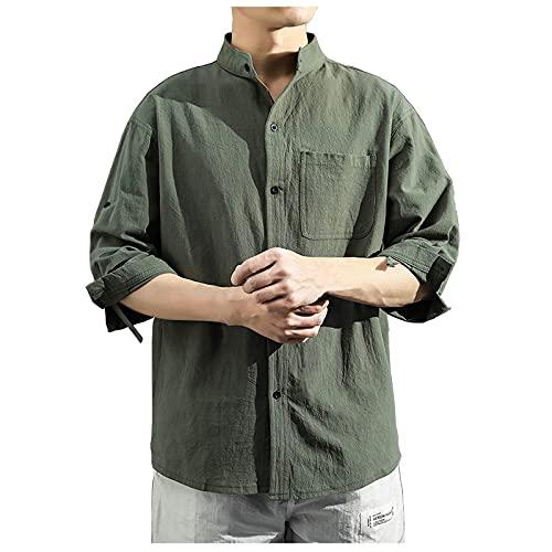 Camisas de hombre para primavera y verano, monocolor, corte ajustado, con bolsillos, camisa de tiempo libre, camisa monocromática con media manga. Verde militar. L