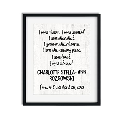 Personalized I Was Adopted Wall Art | Adoption Day Print | Unframed...