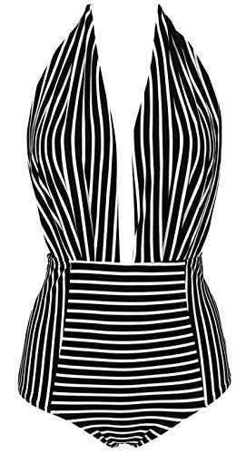 COCOSHIP Black & White Striped Striae Retro One Piece Backless Bikini Bather Swimsuit High Waisted Pin Up Swimwear Monokini XXL(US12)