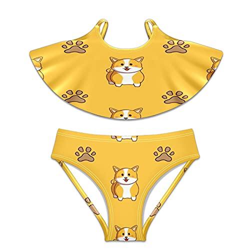 Mädchen Badeanzug Zweiteiliger Badeanzug Bikini Bademode Cute Corgi Hund Fußabdrücke - - Large