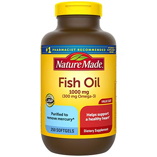 Nature Made Fish Oil 1000 mg Softgels 250 Count Value Size for Heart Health† Packaging May Vary