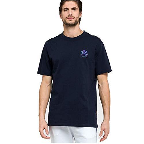 Sundek M016TEJ91FA-007 Archive Safari Logo T-Shirt SS Girocollo Regular Fit Navy Blue 100% Cotton