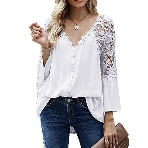 Herbst Und Winter Damen Loose Large Size Lace Shirt Damen Langarm Einfarbig Deep V Pullover Chiffon Shirt