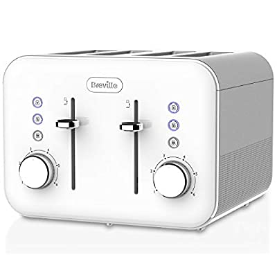 Breville VTT687 High Gloss Toaster, 4 Slice, with Variable Browning and High Lift, White