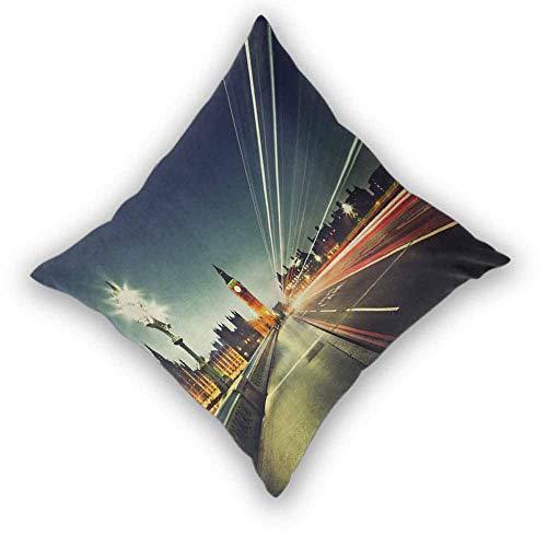 sashimii London Decorative Throw Pillow Covers, Big Ben from Westminster Bridge Evening Urban Life England City Various Print Fashion Patterns for Couch/Bed/Sofa, W20 xL20 Dark Blue Jade Green Orange