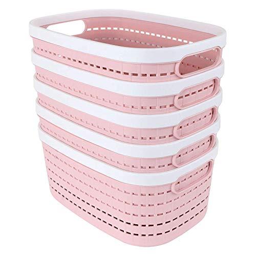 JIAHU Cesta de almacenamiento de plástico portátil, ovalada, para nevera, baño, escritorio, rosa, paquete de 5 unidades, tamaño mediano