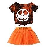 2Pcs Toddler Baby Girl Halloween Outfit Kids Short Sleeve Skull T-Shirt Tops+Tulle Tutu Skirt Dress Clothes (Orange, 12-18 Months)
