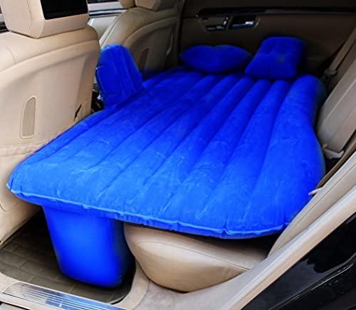 DORUOD Colchón de aire para coche con cabecero, almohadas y bomba de aire, cama de aire para asiento trasero de coche, cama flotante portátil para acampar viajes (azul)