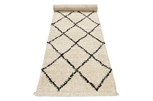 Wecon home, Moderner Hochflor Teppich - Läufer im Berber Style für Wohnzimmer, Flur, Schlafzimmer Studio Two (80 x 400 cm, Creme beige)