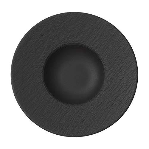 Villeroy & Boch - Manufacture Rock Pastateller, 28 cm, Premium Porzellan, spülmaschinen-, mikrowellengeeignet, schwarz