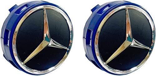 JXUS Frenchic Mercedes Azul Conjunto de 2 OEM Benz Wheel Center Caps Hubcaps 75mm / 3 Pulgadas (Color : Multi-Colored)