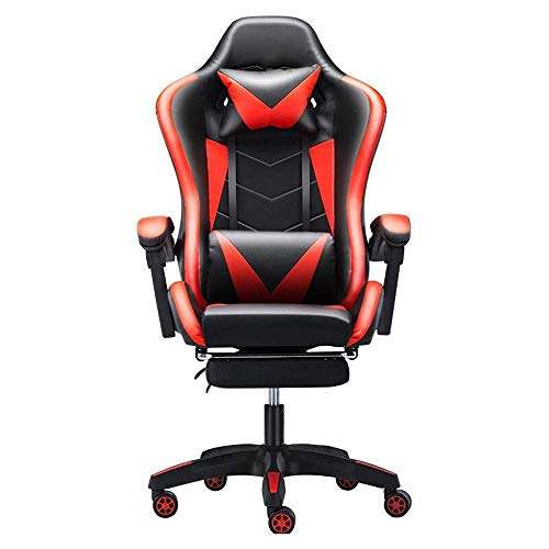 WSDSX Office Chairs Gaming Chair Office Desk Chair High-Back Gaming Recliner with Footrest Ergonomic Video Chair PU Leather Swivel E-Sports Chair (Color : B)
