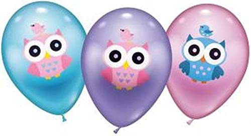 Karaloon 30076 6 Luftballons Eule, Durchmesser 30 cm, Mehrfarbig