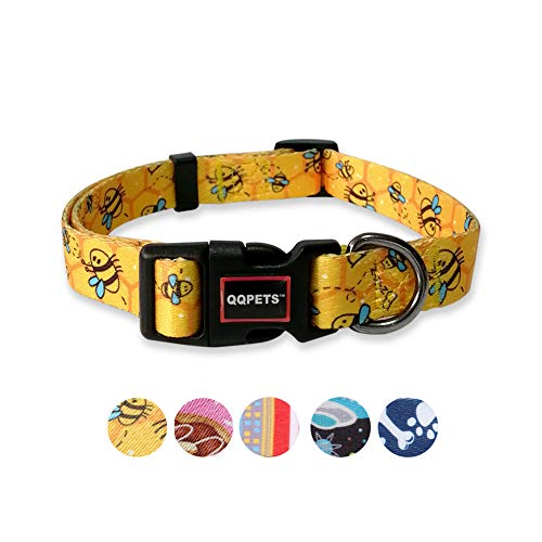 QQPETS Dog Collar Personalized Soft Comfortable Adjustable Collars for Small Medium Large Dogs Outdoor Training Walking Running (M, Yellow Bee)