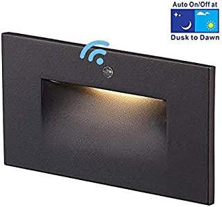 Cloudy Bay 120V LED Step Light with Auto Dusk to Dawn Photocell,3000K Warm White 3W 55lm,Indoor/Outdoor Stair Light,Oil Rubbed Bronze Finish