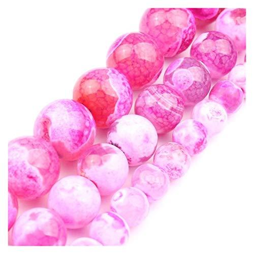 JINGGEGE Natürliche Stein Feuer Drogan Venen Achat Rose Rote Perlen for Schmuckherstellung Handarbeit Halskette 6 8 10mm 15 '' DIY Armband Ohrringe (Size : 6mm)