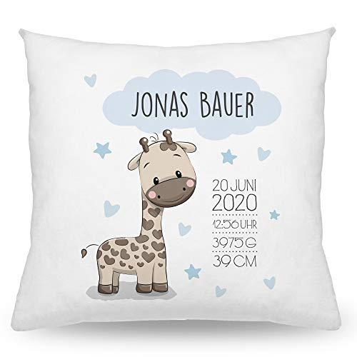 Babykissen mit Namen Tiere, Baby Kissen 40x40cm, Personalisierte Geschenke Baby, Taufgeschenk, Deko Kissen, Junge, Mädchen (Giraffe Blau)